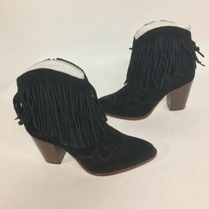 NEW SAM EDELMAN Suede Fringe Benjie Ankle Boots
